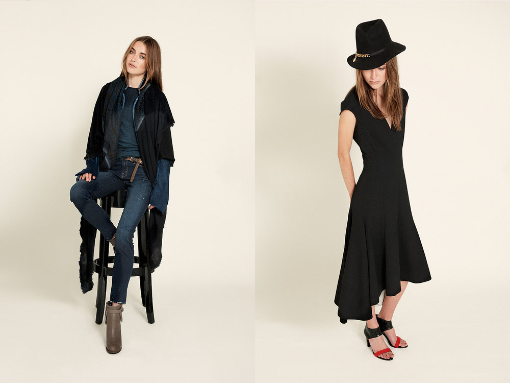 At Left  sweater | avant toi cashmere wrap + vintage silk scarf | Avant Toi jeans | Humanoid ankle boots | Humanoid   At Right  dress | Stella McCartney shoes | zero maria cornejo hat with chain | Stella McCartney