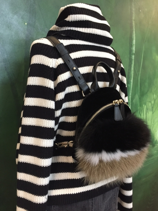 RtA striped turtleneck sweaters / santoni mini velvet & fur backpack