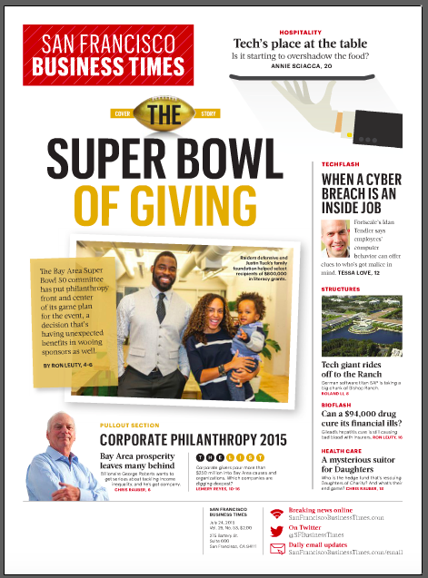 The Re(a)d Zone partners Lauran and Justin Tuck of Tuck's R.U.S.H. for Literacy were the cover story in last Friday's San Francisco Business Times!