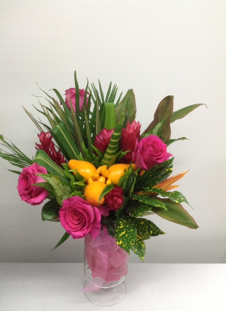 This beautiful exotic collection hand tied bunch includes roses -$ 75.00