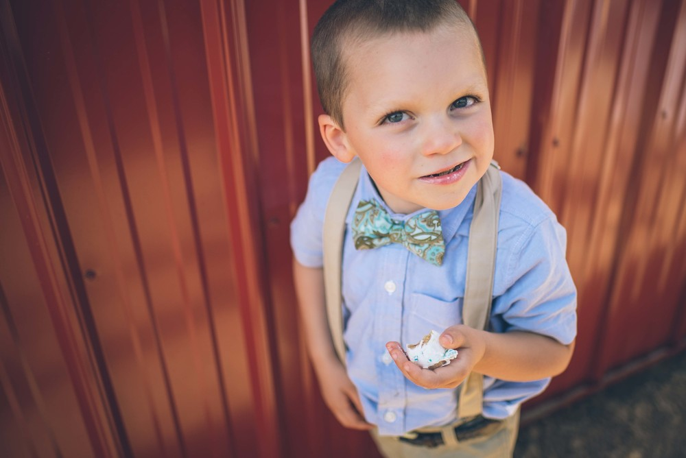 Perfect timing to find one of the ring bearers with a snagged cake pop.