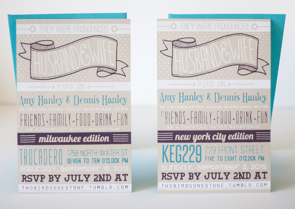 AMY + DENNIS' WEDDING INVITATIONS, 2012.
