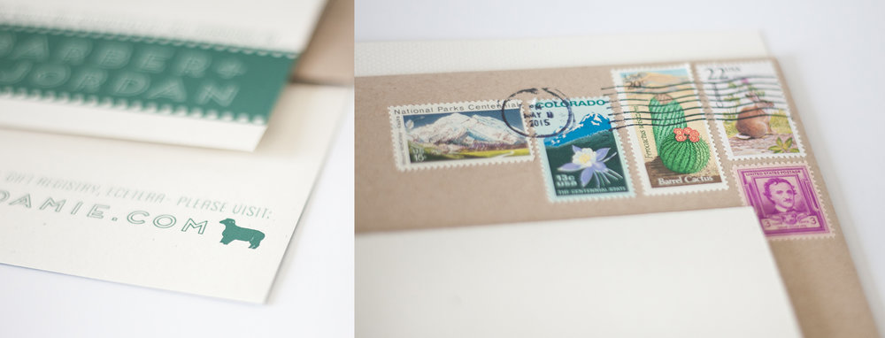 Amie sourced these vintage stamps from a shop in LA. Also, we tried to include animals in small details all over the place. The Highland Springs Resort is also a working farm!