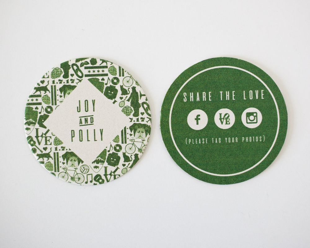 POLLY & JOY WEDDING COASTERS, 2017.