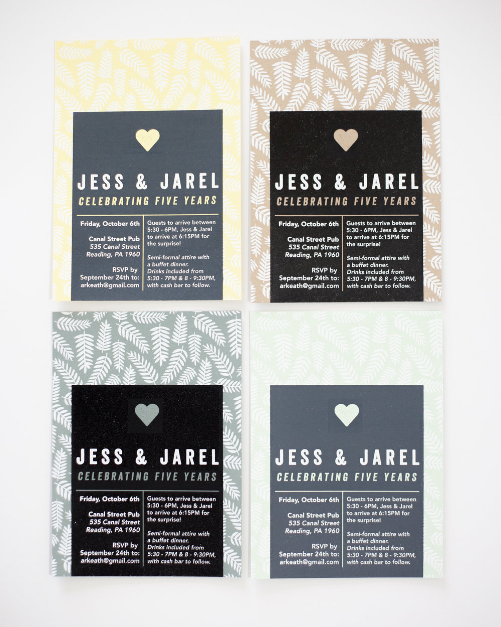 ADDITIONAL COLORWAYS FOR JESS & JAREL'S INVITE, 2017.