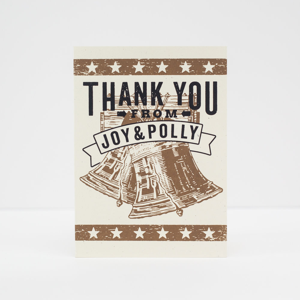 THANK CARD FOR JOY & POLLY, 2017.
