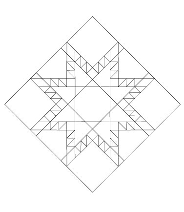 One in-tact  Fierce Feathered Star  block set on-point.