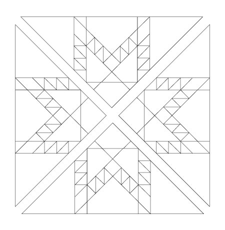 One  Fierce Feathered Star  block cut diagonally into quarter square triangles.