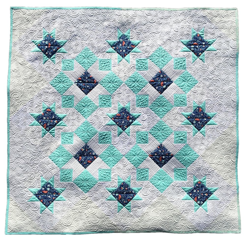 "There are four layout options and instructions in this pattern, above is Option 1 and measures approximately 51"" square."
