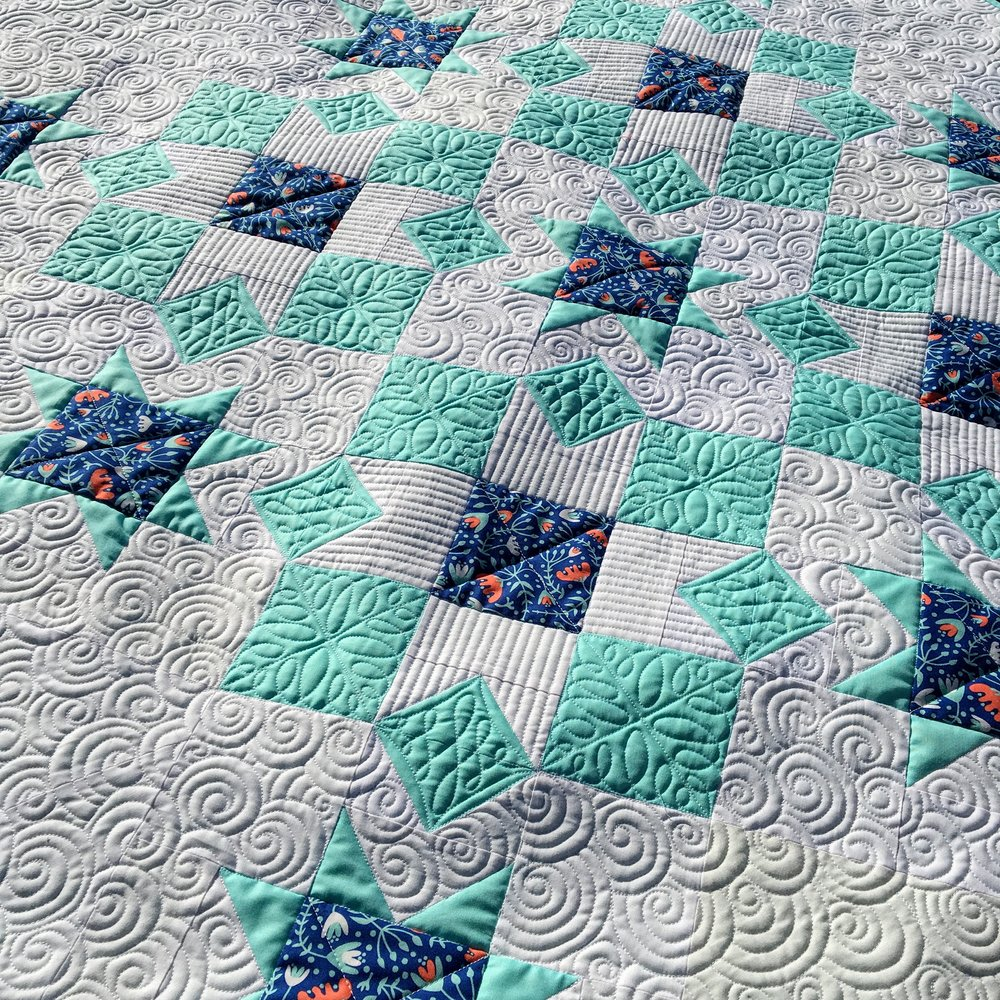 This is one of the baby quilt versions consisting of only 3 fabrics: 2 solids and a focal print!