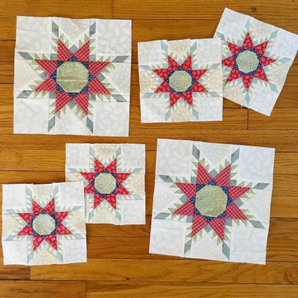 "Check out these 8"" and 12"" NYSFS blocks made by Lindsay Mayland! Find more from Lindsay on Instagram  @lindsmayland  and her blog  Happy Hour Stitches ."