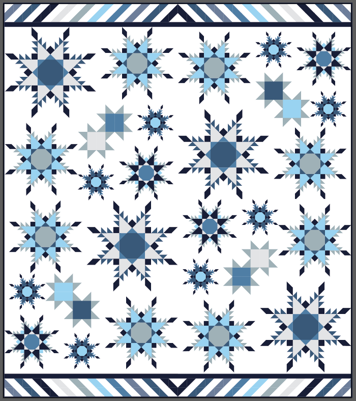 "Feathered Star Blizzard - 76"" x 86"" (Layout Option 1)"