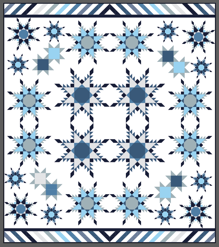 "Feathered Star Blizzard - 76"" x 86"" (Layout Option 2)"
