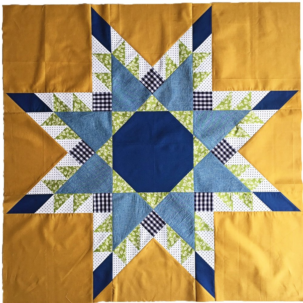 """36"""" star used in making a 2-block lap quilt (next photo)."""
