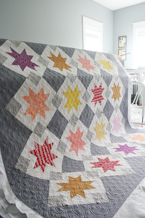 Maker:  Stephanie Williams   Pattern:  North Star by Emily Dennis of Quilty Love   Pantograph:  Hammersmith by Keryn Emmerson