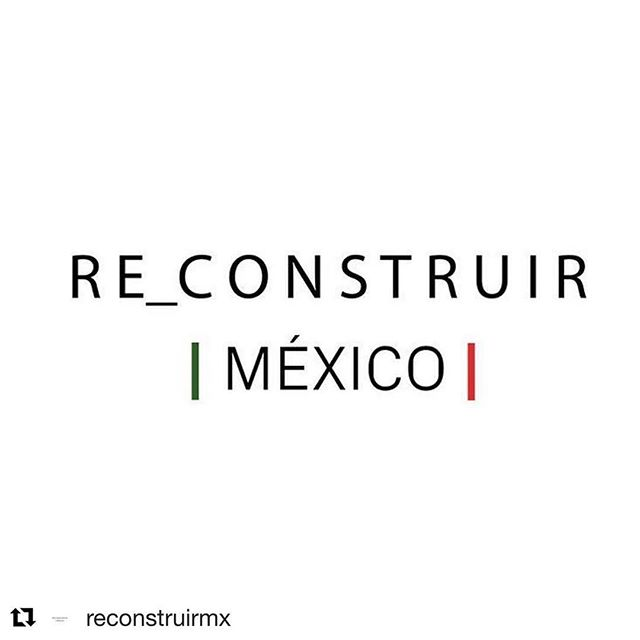 #Repost @reconstruirmx ・・・ Somos un grupo de arquitectos, sociólogos, diseñadores, urbanistas, artistas, y otras disciplinas, sumados por la reconstrucción de México. — We are a group conformed by architects, sociologists, designers, urbanists, artists and other disciplines, working together towards the reconstruction of Mexico.  Twitter: @ReconstruirMX #ReconstruirMexico