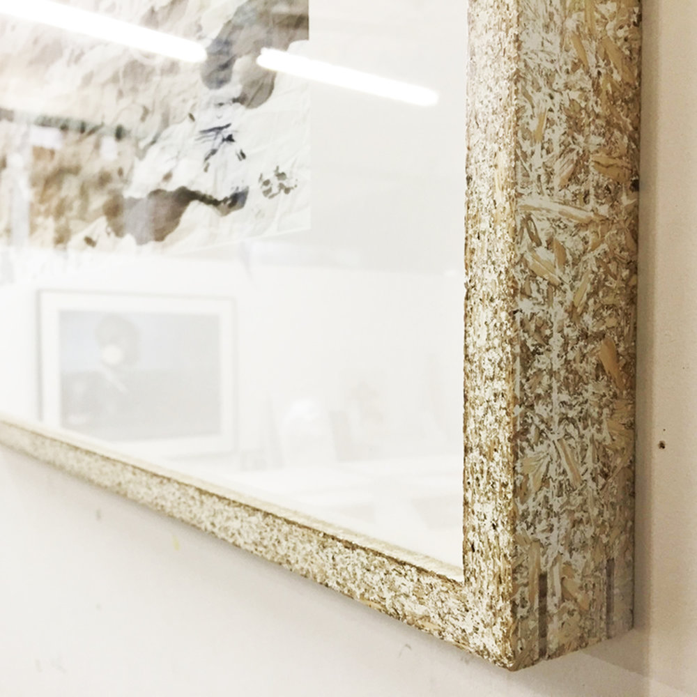 A light-hearted approach using polished chipboard frames.