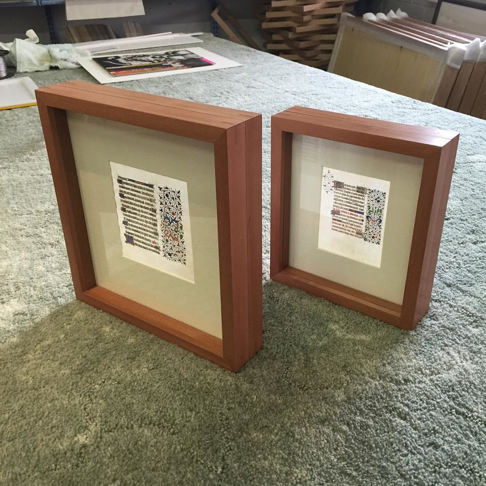 Double sided framing allows a collector of medieval vellum manuscripts to read both sides.