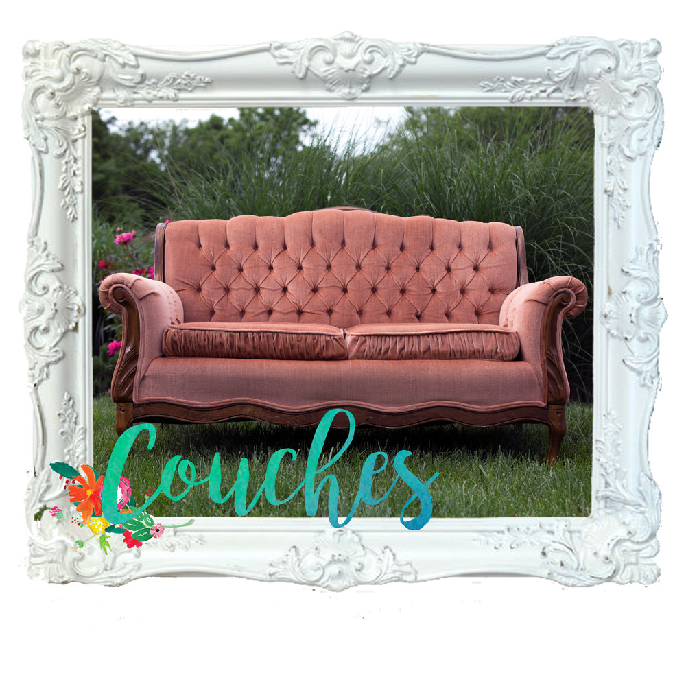 vintage pink couch for rental