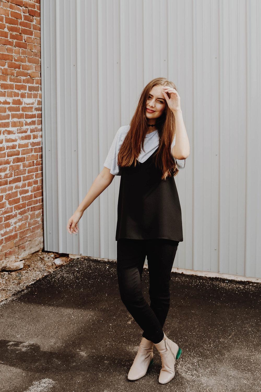 Shauna Top (Bamboo T-Shirt) -  CassBurr Designs /V Neck Cami (Black) -  KAZZ / Skinny Yoga Jeans (Black) -  Yoga Jeans