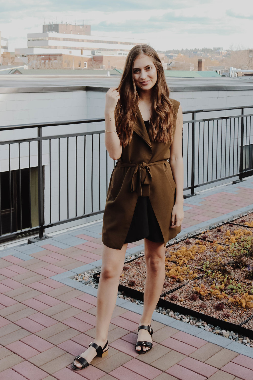 Asym Vest (Olive) -  KAZZ / Liza Side-Tie Skirt -  Bellantoni