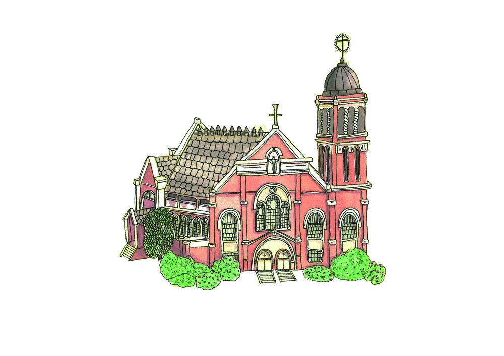 Sacred Heart Catholic Church, Preston VIC made using coloured pencils, sakura micron pens, watercolours and Canson Heritage hot pressed watercolour paper.