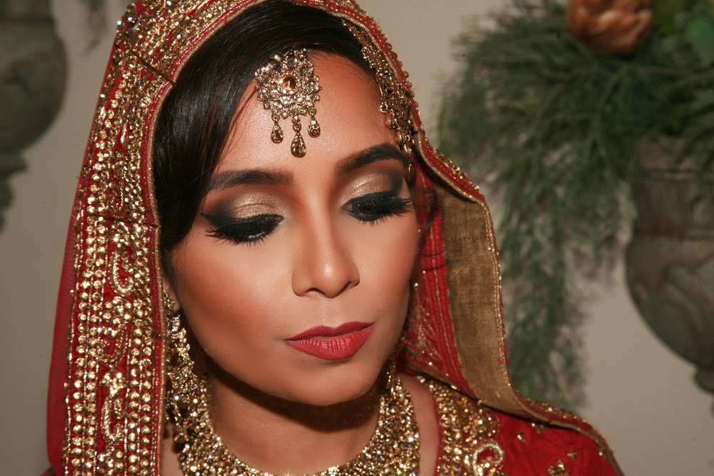 """She worked under pressure to transition my            American bridal look into a traditional                                     Pakistani bride.  """