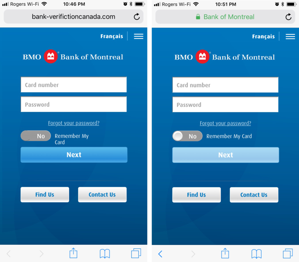 Scammers will design their webpages (left) to look nearly identical to official bank login pages (right).