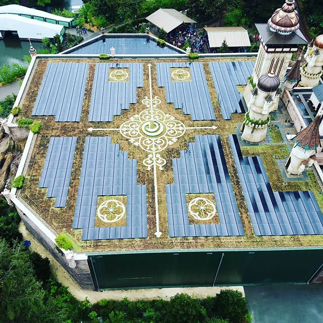 Symbolica from the sky, completely solar powered ride in a park that keeps 89% of their footprint green space.