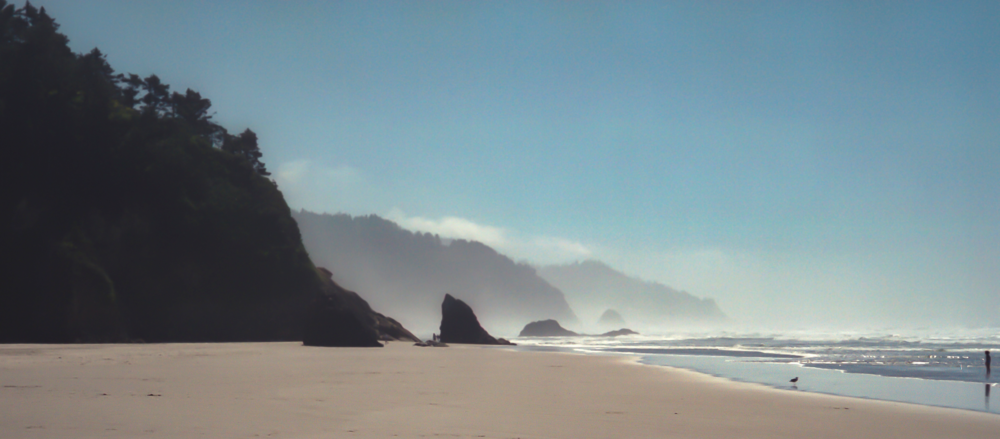 Cannon Beach, Oregon.  August 1989. Restored from damaged Kodak Gold 200 35mm film negative.