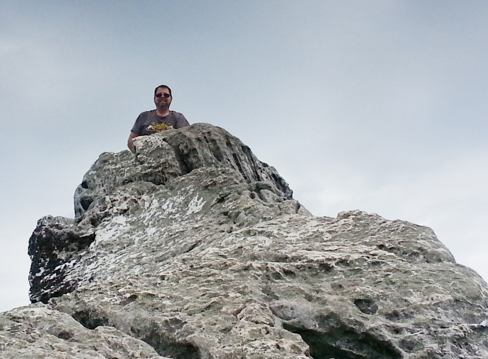 "Me atop the 3000' peak of ""Dragon's Tooth"" just off the Appalachian Trail, Summer 2013.  Photo by Ryan Setzer"