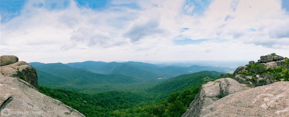 Shenandoah National Park from Old Rag summit - 180 degree panorama stitched from 9 images.  ©2016 Images by Design