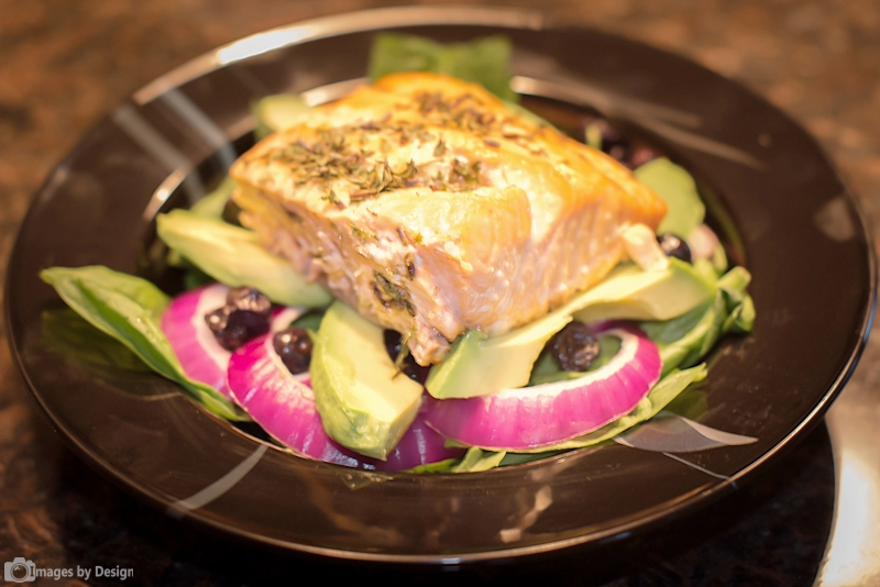 Brain Food - Grilled Atlantic Salmon on a Bed of  Aavocados, Blueberries, Onions and Spinach. ©2015 Images by Design