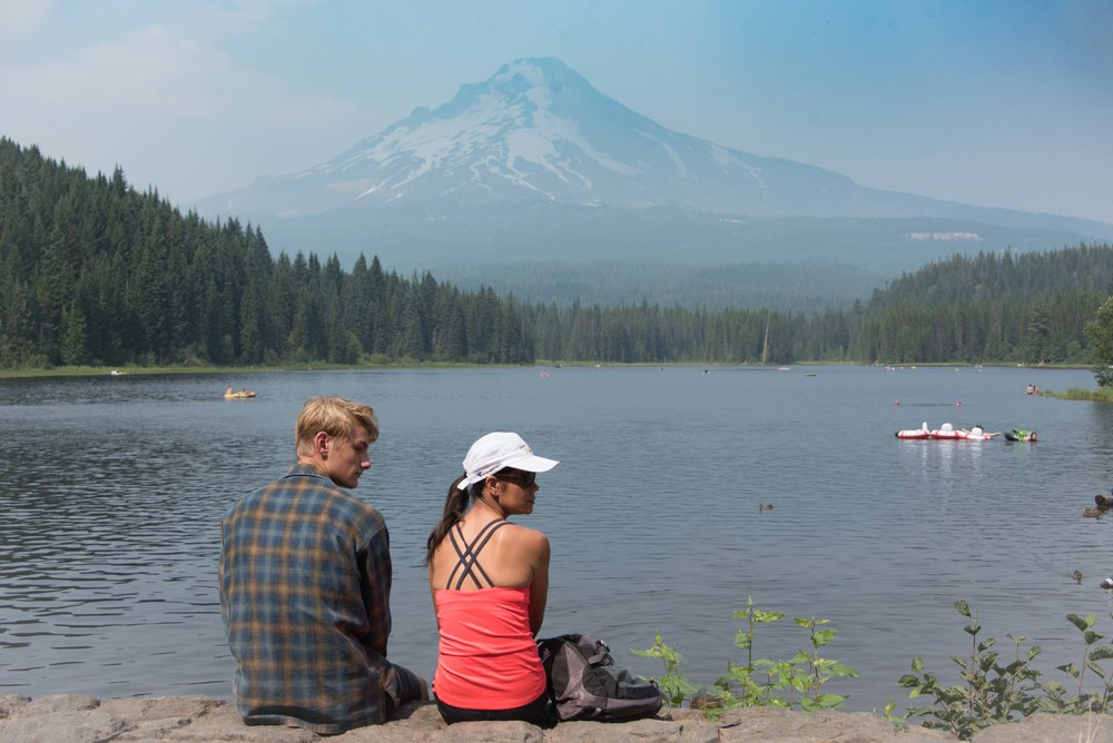 Hazy Mt Hood from Trillium Lake