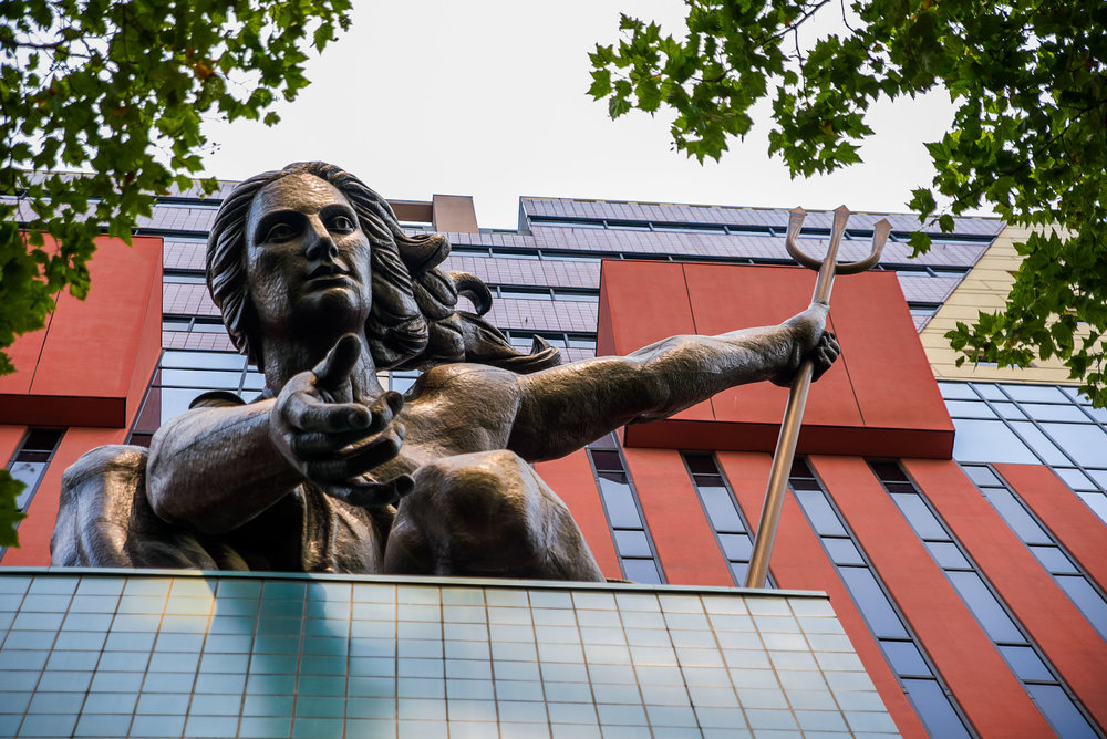 "The Statue ""Portlandia"" by Raymond Kaskey greets visitors to the Portland Municipal Building.  ©2017 Images by Design"