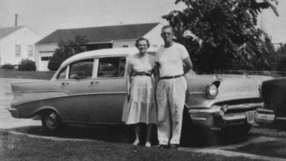 1956ish: Grandpa, Grandma & a Chevy