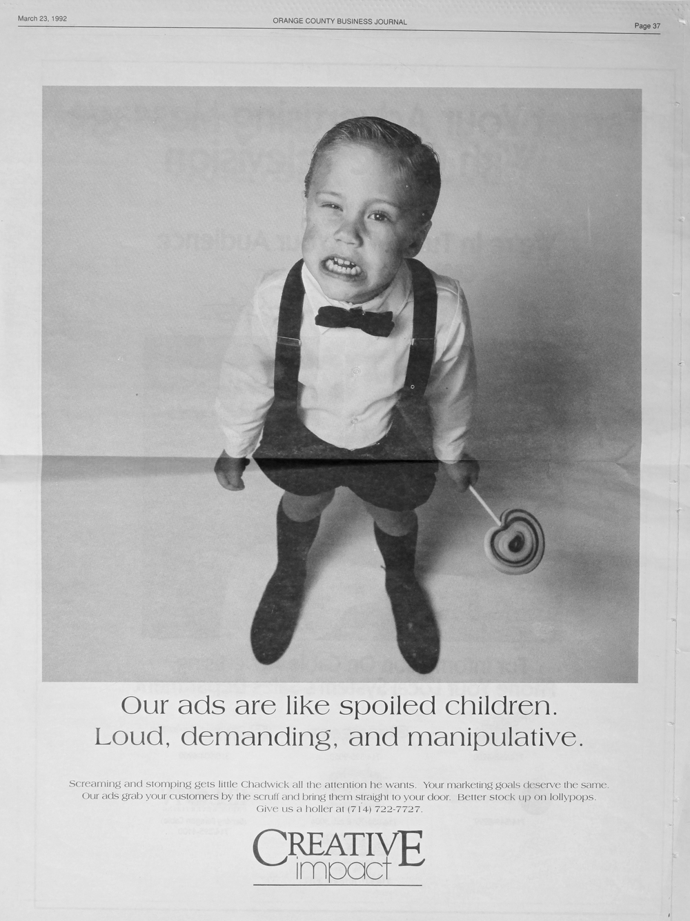 spoiled children print ad