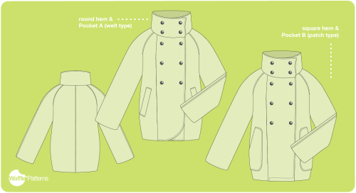 Yuzu raglan coat sewing pattern