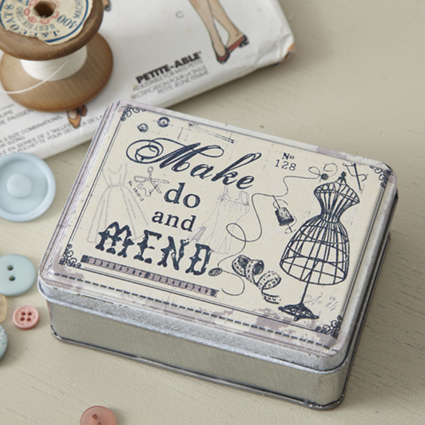 Make Do and mend vintage tin form Live Love Laugh