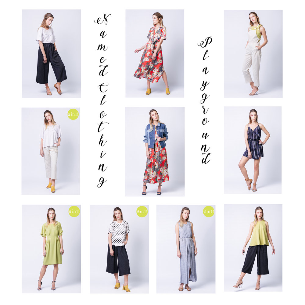 Top row - From left to right - Ninni Culottes, Reeta Dress, Ronja Dungarees. Middle row - From left to right - Ansa Top, Maisa Jacket, Helga Playsuit. Bottom row - From left to right - Ansa Dress, Anneli Top, Anneli Dress, Minttu Top.