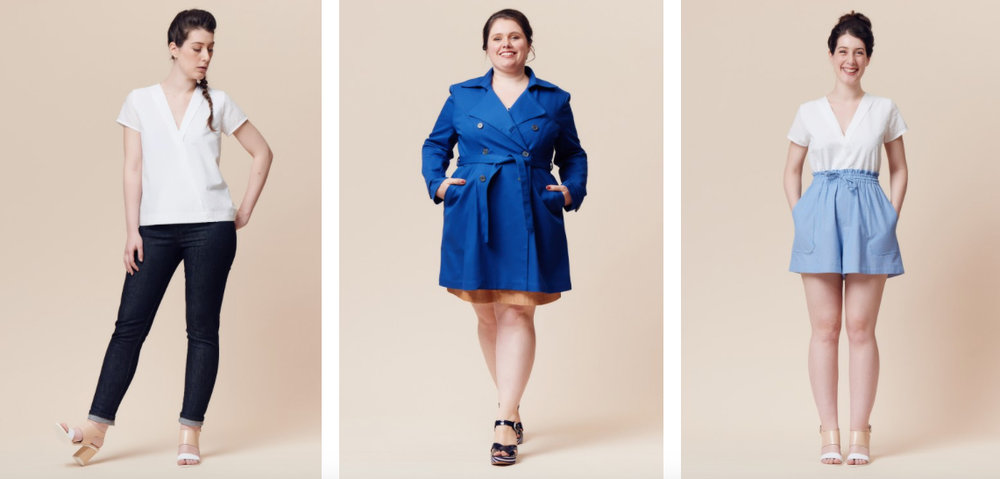 From left to right - Hoya Blouse, Luzerne Trench Coat and Goji Shorts / Skirt
