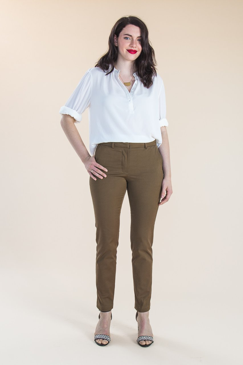 sasha trouserscloset case patterns  - The perfect all rounder trousers. These trousers are sure to accompany any outfit. This classic pair of tailored trousers are slim in the leg with a comfortable stretch fit. Sasha can be made in two different versions - both versions are mid-rise and have a contour waistband, and can be sewn with optional belt loops, a hidden closure and pressed leg crease.. Version A is a full length trouser with slashed hip pockets and single welt pockets on the back. Version B is a cropped leg trouser with the same pockets as version A. Great for wearing with sandals in the summer or boots in the winter.