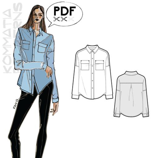 T005 loose-fit shirt  - Kommatia Patterns