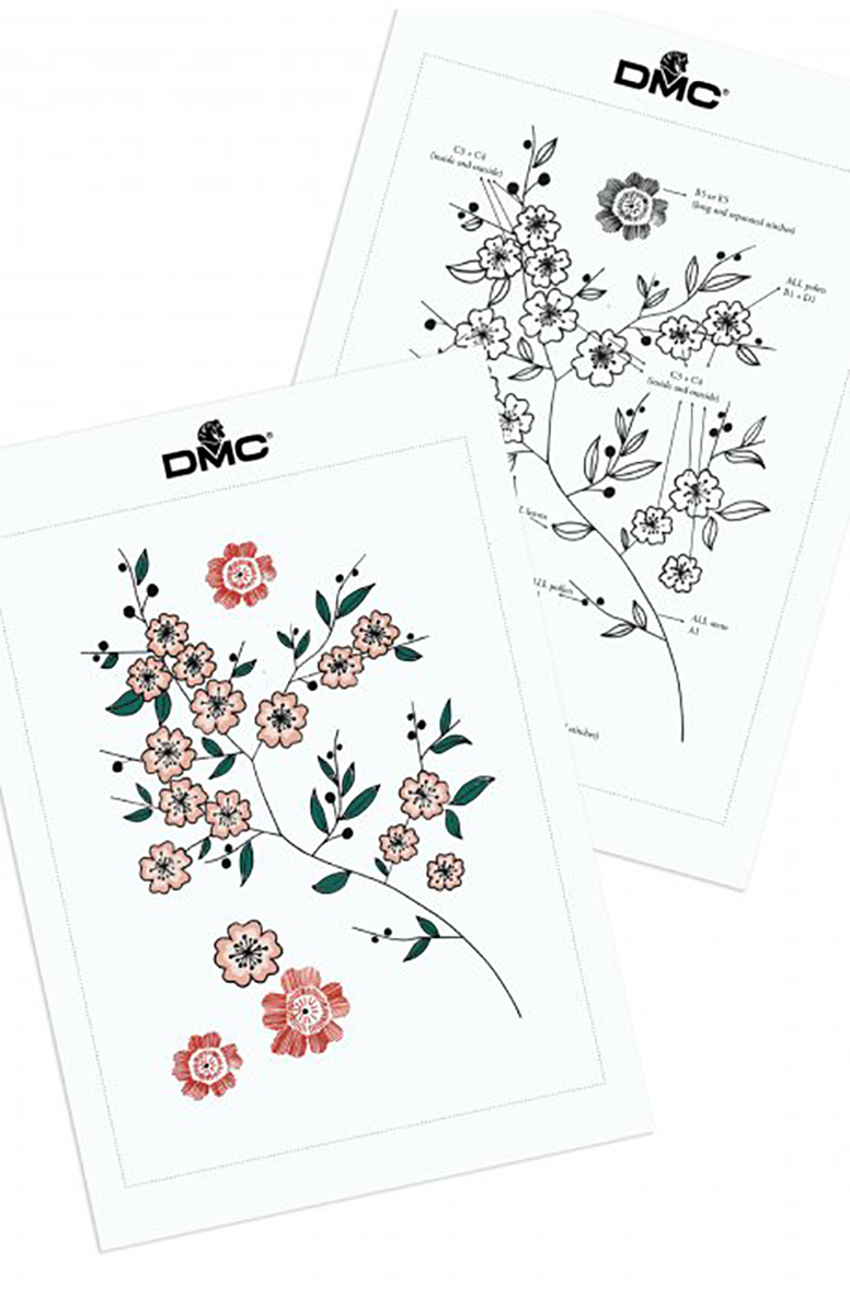 Cherry Blossom embroidery design from DMC Creative