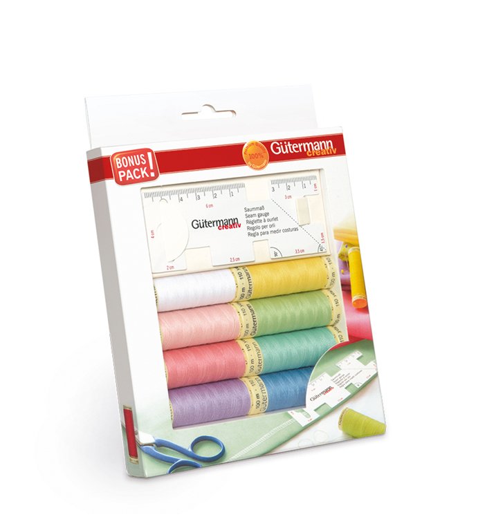 Thread Pack with Seam Gauge - The new thread pack contains 8 reels of 100m reels of Gutermann Sew All thread in fresh pastel shades that are perfect for summer sewing projects. The high-quality polyester thread is the ideal all-rounder that can be used on most fabrics for machine and hand sewing. The pack also includes a flexible seam gauge for tracing seam and hem allowances easily with the scale scale markings beginning right at the edge of the gauge so you can line up your fabric and pin or tack accurately. It's priced at £14.25 and available from fabric, craft and hobby shops.For stockist information contact Gutermann@stockistenquiries.co.uk