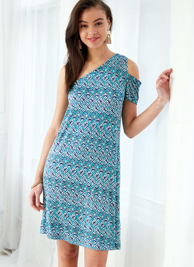 M7741 - loose fitting one shoulder top and dresses with flounces