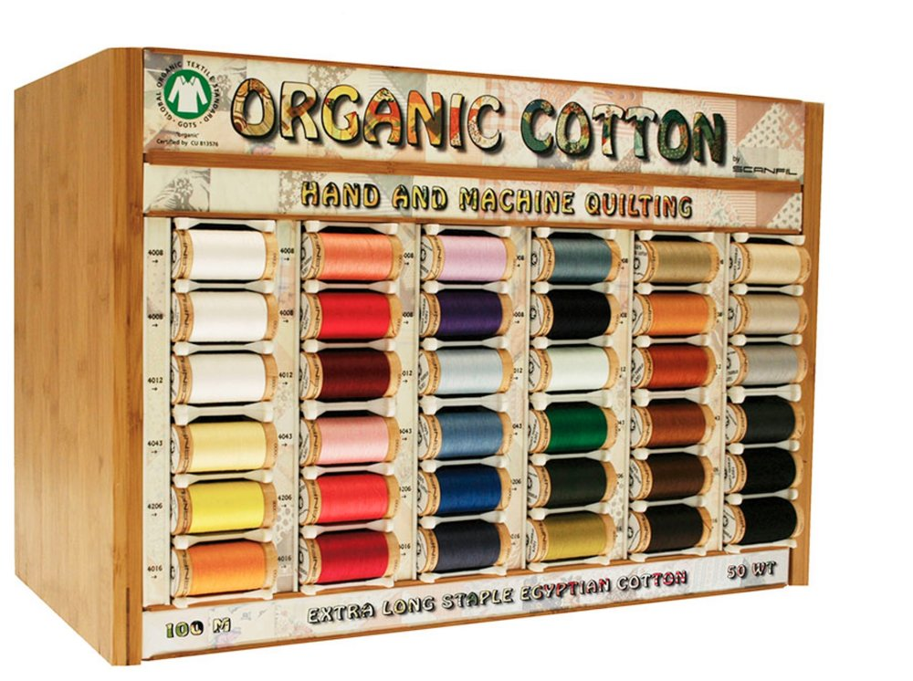 Certified Organic - This sewing thread is 100% certified organic Egyptian cotton to GOTS standards, and is made from long staple fibres, these ring spun and combed threads are soft as well as strong. The fine thread is suitable for hand sewing and machine sewing, and sews beautifully.There is 100m on each spool and the spools are made from reclaimed and re-used wood so plastic free, and is parallel precision wound. It comes in 34 colours so there will always be a colour to match you fabric. It's also low lint and sews beautifully.To find out your UK nearest stockist click