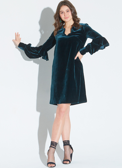 7800 STYLISH SLEEVES  This pattern is definitley one that we want to make, and it looks preety special in stretch velvet! The pattern features three styles of loose-fitting pullover dresses and has lots of choices when it comes to neckline and sleeves. Available in sizes 6-22