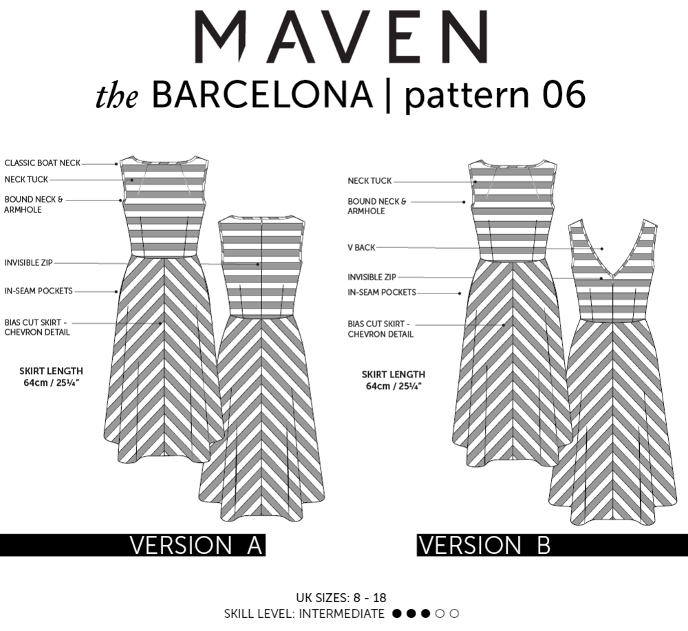 The Barcelona Dress PDF sewing pattern from Maven Patterns