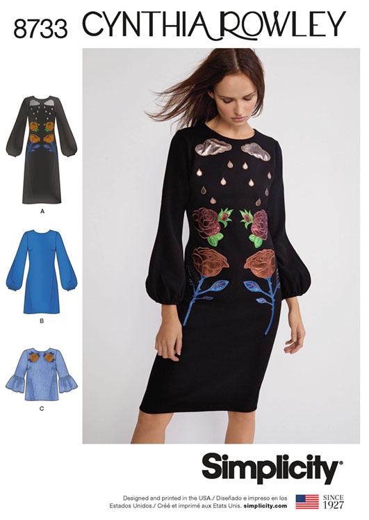 Simplicity 8733 Cynthia Rowley bishop-sleeve dress
